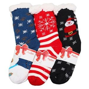 3 Pk Red Blue Black Christmas Fleece Slipper Socks
